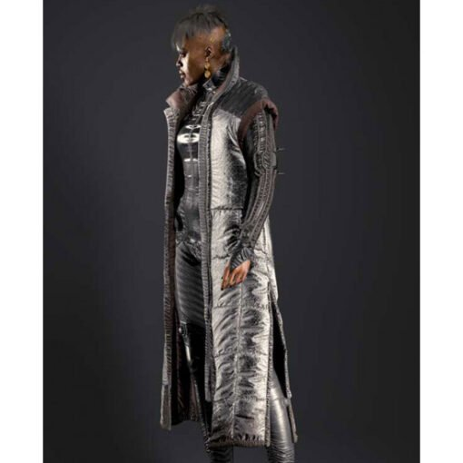 Cyberpunk 2077 Brigitte Silver Puffer Long Coat