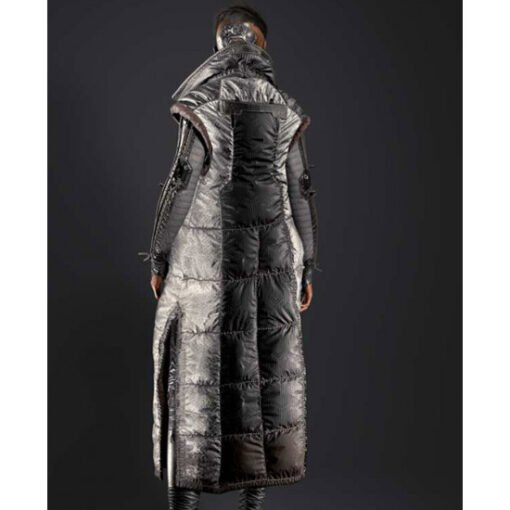 Cyberpunk 2077 Brigitte Silver Puffer Long Coat Back