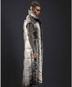 Cyberpunk 2077 Brigitte Silver Puffer Long Coat Side