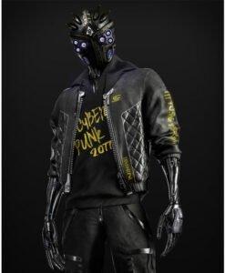 Cyberpunk 2077 Cyborg Black Leather Bomber Jacket