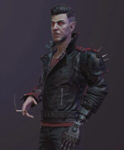 Cyberpunk 2077 Dracula Black Studded Leather Jacket 2