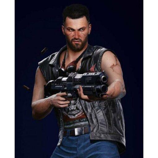 Cyberpunk 2077 Male V Nomad Black Leather Vest 2