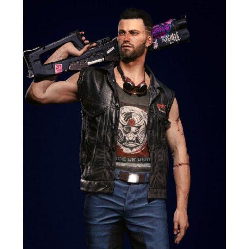 Cyberpunk 2077 Male V Nomad Black Leather Vest