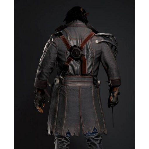 Cyberpunk 2077 Placide Belted Leather Coat Back