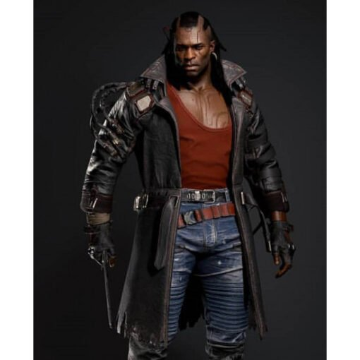 Cyberpunk 2077 Placide Belted Leather Coat Front