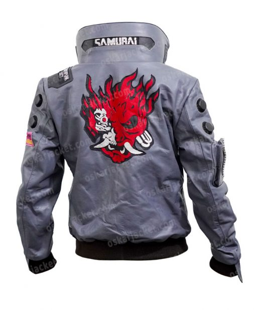 Cyberpunk 2077 V Samurai Leather Bomber Jacket Back