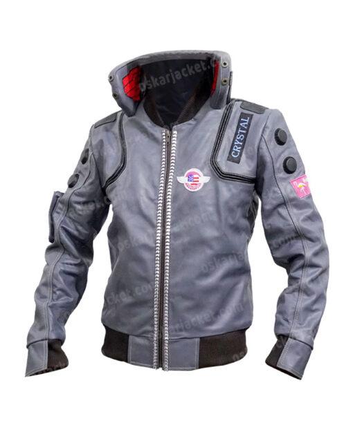 Cyberpunk 2077 V Samurai Leather Bomber Jacket Front