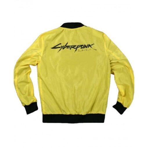 Cyberpunk 2077 Yellow Cotton Bomber Jacket Back