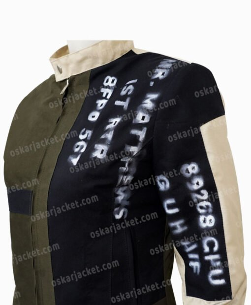 Emma Stone Cruella De Vil Grey Cotton Jacket Left