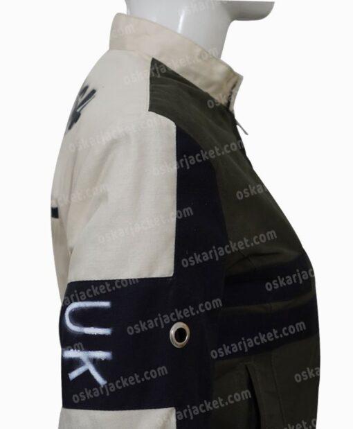 Emma Stone Cruella De Vil Grey Cotton Jacket Right