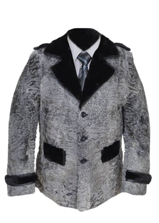 Gray Swakara Mink Fur Collar Coat