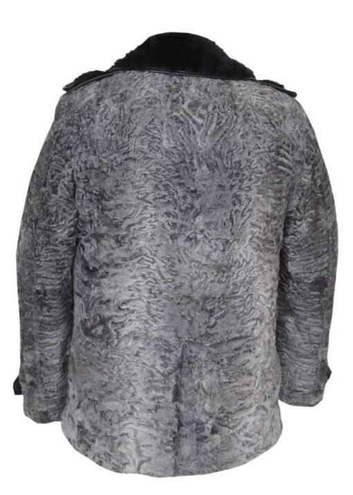 Gray Swakara Mink Fur Collar Coat Back