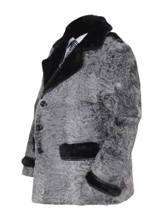 Gray Swakara Mink Fur Collar Coat Left