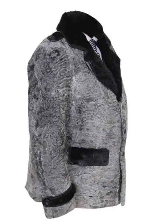 Gray Swakara Mink Fur Collar Coat Side