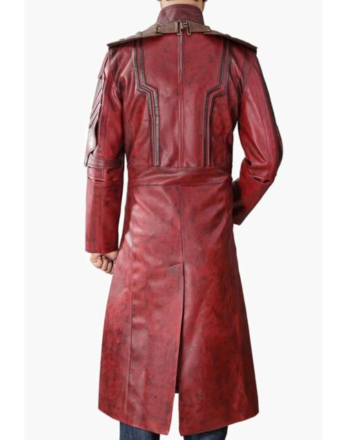 Guardians Of The Galaxy 2 Star Lord Red leather Coat Back