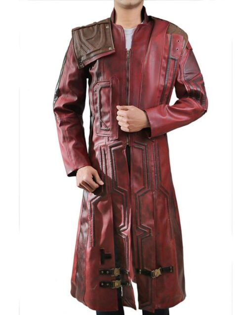 Guardians Of The Galaxy 2 Star Lord Red leather Coat Front