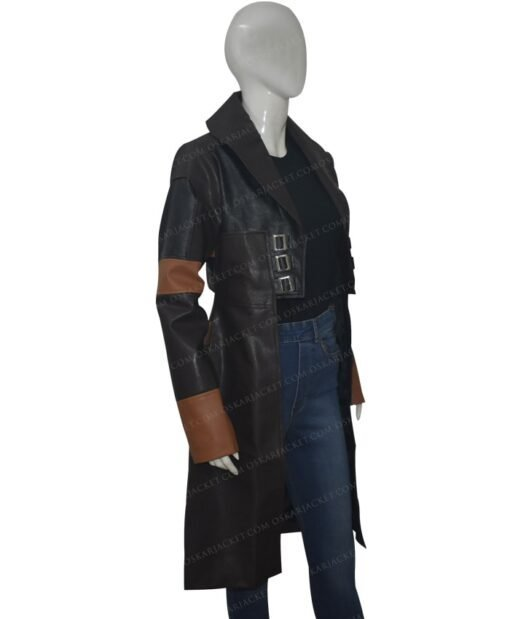 Guardians Of The Galaxy Vol 2 Gamora Brown Leather Coat Left