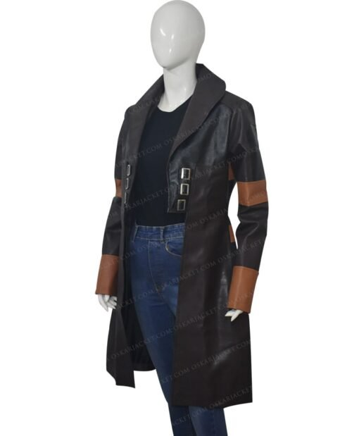 Guardians Of The Galaxy Vol 2 Gamora Brown Leather Coat Right