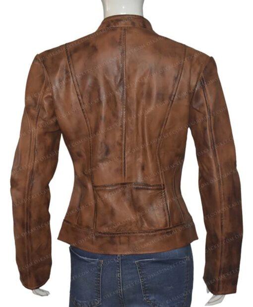 Heartland Amber Marshall Brown Leather Jacket Back