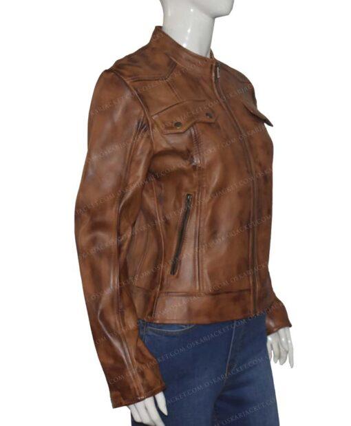 Heartland Amber Marshall Brown Leather Jacket Left