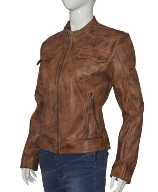 Heartland Amber Marshall Brown Leather Jacket Right