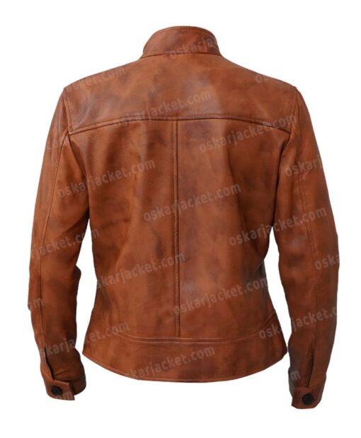Jenny Big Sky Brown Leather Jacket Back