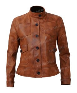 Jenny Big Sky Brown Leather Jacket Front