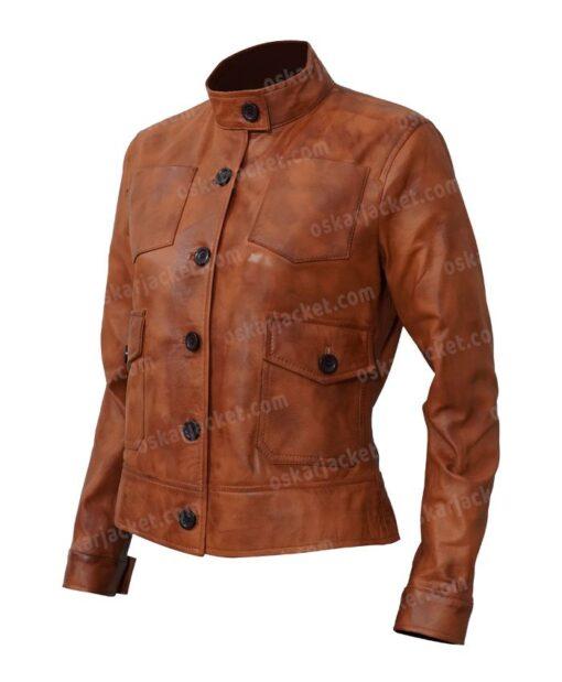 Jenny Big Sky Brown Leather Jacket Left