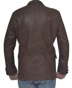 Leather Sheepskin Brown Coat Back