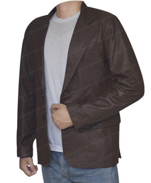 Leather Sheepskin Brown Coat Left Side