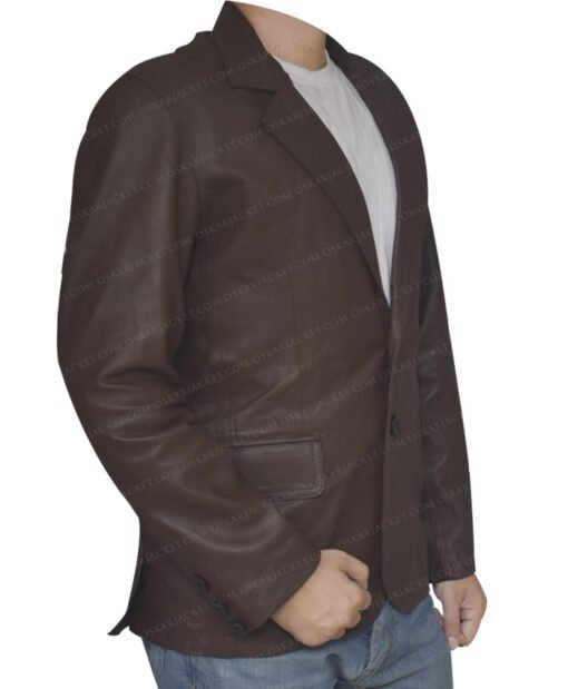 Leather Sheepskin Brown Coat Right Side