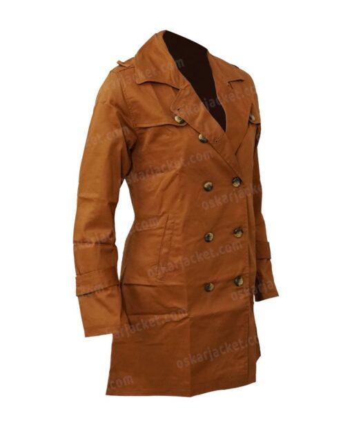 Lucifer Chloe Decker Brown Wool Coat Side