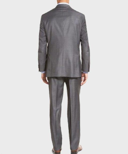 Lucifer Morningstar Wool Blend Grey Suit Coat Back