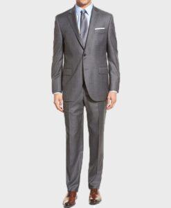 Lucifer Morningstar Wool Blend Grey Suit Coat Front