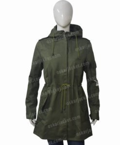 Melania Trump Don't Care Olive Green Hooded Coat Front