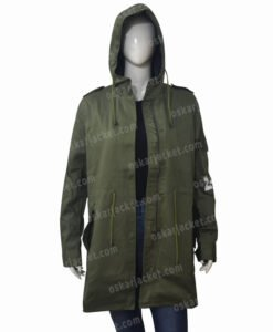 Melania Trump Don't Care Olive Green Hooded Coat Front Open