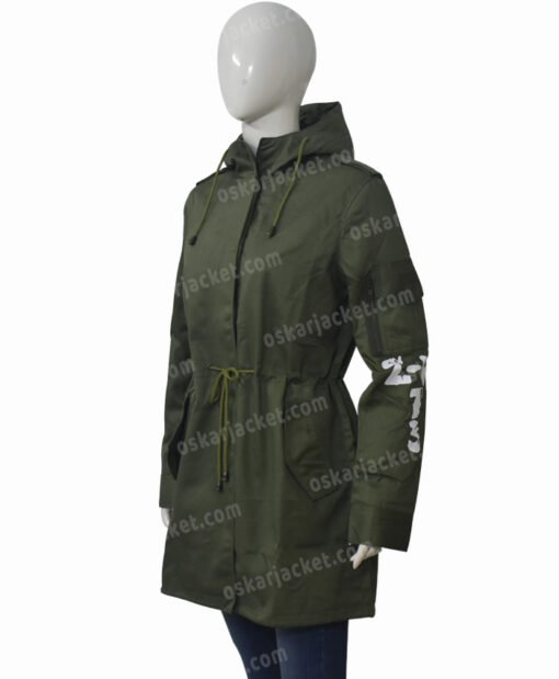 Melania Trump Don't Care Olive Green Hooded Coat Right