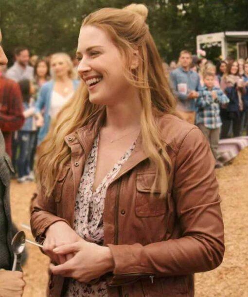 Melinda Monroe Virgin River Season 2 Brown Leather Jacket