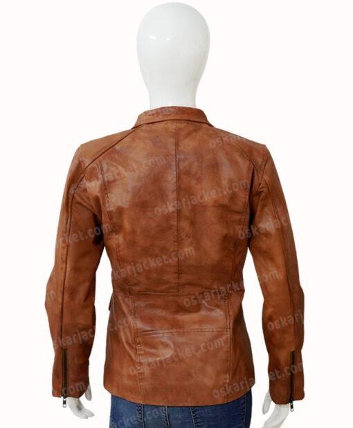 Melinda Monroe Virgin River Season 2 Brown Leather Jacket Back
