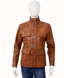 Melinda Monroe Virgin River Season 2 Brown Leather Jacket Front