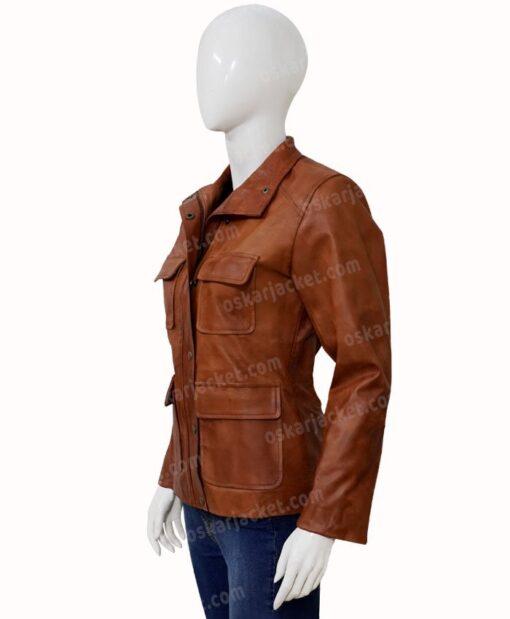 Melinda Monroe Virgin River Season 2 Brown Leather Jacket Side