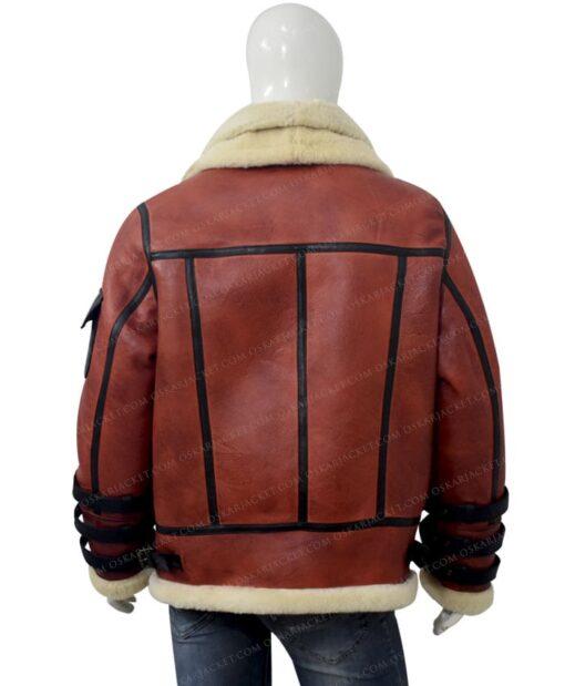 Mens Aviator B6 Sheepskin Bomber Leather Jacket Back