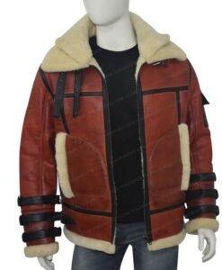 Mens Aviator B6 Sheepskin Bomber Leather Jacket Front