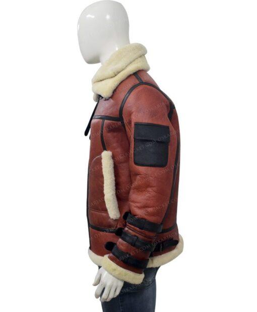 Mens Aviator B6 Sheepskin Bomber Leather Jacket Left