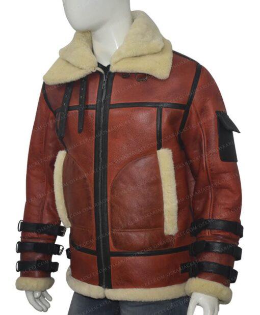 Mens Aviator B6 Sheepskin Bomber Leather Jacket Left Side