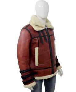 Mens Aviator B6 Sheepskin Bomber Leather Jacket Right Side
