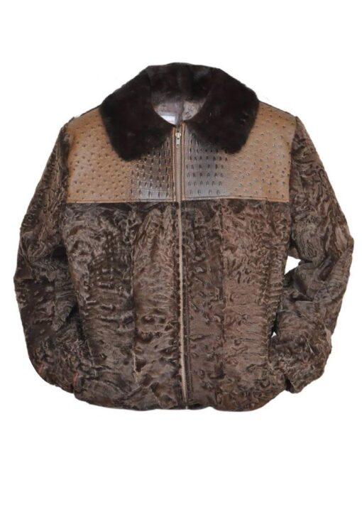 Men's Brown Broadtail Persian Lamb Fur Bomber Jacket Front