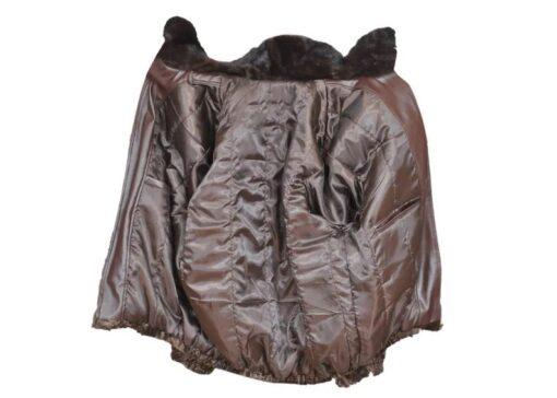 Men's Brown Broadtail Persian Lamb Fur Bomber Jacket Inner