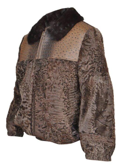 Men's Brown Broadtail Persian Lamb Fur Bomber Jacket Right Side