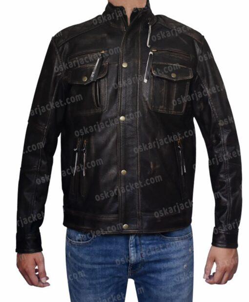 Mens Cafe Racer Brown Leather Biker Jacket